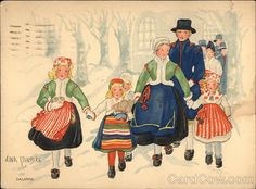 """ God Jul "" .. A Swedish Family Leaving From Christmas Church Services.  Antique Postcard,by Aina Stenberg, Artist."