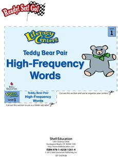 Pair up Teddy Bears with this #literacycenter designed to help students recognize high-frequency words! #reading #literacy Grade: 1