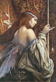 "meanwhilebackinthedungeon: Brian Froud ""It is known that the queen of faeries possesses a unicorn horn of great mystic power and the opal tear shed by the unicorn as it died. Image, Art, Mystical Creatures, Magical Creatures, Fantasy, Brian Froud, Nature Spirits, Artist, Mystic"
