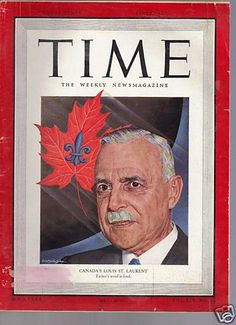 1949 September 12 Time Magazine Canada's Louis St Laurent Front Cover  Canadian maple leaf