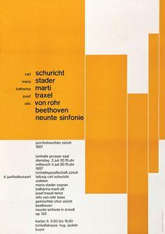 Typographic poster design by Josef Müller–Brockmann, circa 1957 Layout Design, Modern Web Design, Swiss Design, Web Layout, Style International, International Typographic Style, Cv Inspiration, Graphic Design Inspiration, Rationalism
