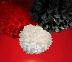 27pcs Mixed 3 Sizes Black Red White Tissue Paper Pom by Craftmusou
