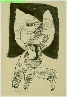 Lucebert (1924-1994) was een Nederlands dichter en schilder. In de jaren zestig legde hij zich vooral toe op de beeldende kunst, die destijds 'figuratief-expressionistisch' genoemd werd. Zijn schilderwerk, dat vooral in het begin sterk beïnvloed was door Cobra, geeft blijk van een vrij pessimistisch wereldbeeld.-1952
