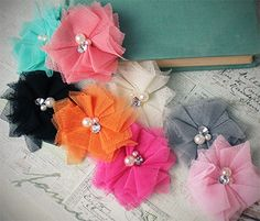 Vintage Tulle Flower | Shabby Chic Flower | Tulle Crafting Flower - Several color options, only $0.99 each!