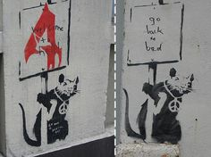 A collection of the best Graffiti Art by famous street artist Banksy Street Art Banksy, Banksy Graffiti, Best Graffiti, Bansky, Abraham Lincoln Images, Stencilling Techniques, Graffiti Drawing, Beautiful Streets, Artists