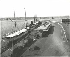 """Bennelong Point, c.1906 The French liner """"Yarra"""" berthed at Bennelong Point Sydney Australia. Dated: c.1906"""