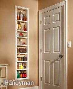 Built-In Shelves - Create extra storage space between the studs in your walls. Fantastic for small bathrooms! | FamilyHandyman.com