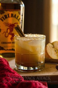 Apple Pie on the Rocks: Ingredients •1 oz. Vanilla Vodka •1 oz. Fireball Whiskey •4 oz. Organic Apple Juice •Pinch of Ground Cinnamon •Brown Sugar for the rim (Grind a little finer for more successful sugaring) •Optional: Cinnamon Stick for Garnish •Ice