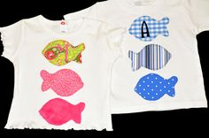 Applique Fish Shirt with Single Initial Monogram by ChezWhimsy, $22.00