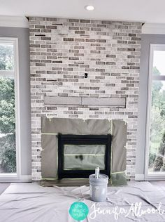 Most recent Totally Free Brick Fireplace remodel Suggestions A Light Brick Fireplace Makeover by Jennifer Allwood Brick Fireplace Remodel, White Wash Brick Fireplace, Painted Brick Fireplaces, Wooden Fireplace, Brick Fireplace Makeover, Paint Fireplace, Farmhouse Fireplace, Home Fireplace, Fireplace Design