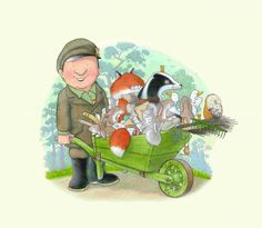 Percy the Park Keeper. Reprinted by permission of Harper Collins Publishers Ltd. Percy The Park Keeper, Children's Book Characters, Butterworth, After The Storm, Disney Wallpaper, Cute Cartoon, Cross Stitching, Caricature, Cute Pictures