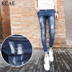(38.70$)  Buy here - http://aiuru.worlditems.win/all/product.php?id=32720202624 - Men ripped jeans tide men's casual pants 2016 summer new hole Slim pants feet jeans trousers thin section students 28-34