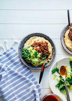 "vegan bbq lentils with millet ""polenta"" » the first mess"