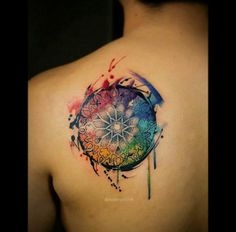 Watercolor mandala wheel tattoo from evanyudo.tumblr.com