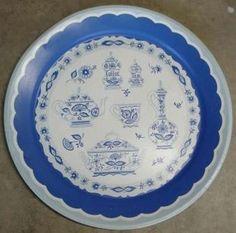 Metal Tray Blue Onion White Coffee Tea Vintage Large | eBay