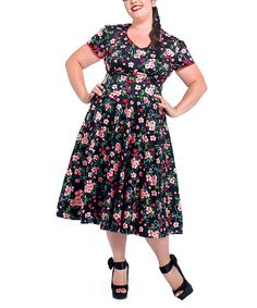 Another great find on #zulily! Voodoo Vixen Black Cherry Blossoms Fit & Flare Dress - Plus by Voodoo Vixen #zulilyfinds