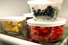 Glass storage pots for prepared food in fridge