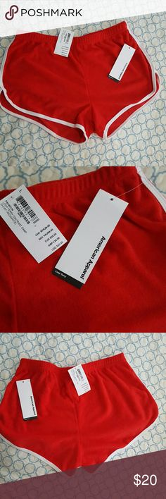 AA red terry dress white trim Large NWT   American apparel dress ...