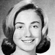 HILLARY CLINTON - 1965 As a senior at Maine East High School in Park Ridge, Illinois, Hillary Rodham's hair was very properly coiffed in a conservative flip.