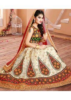 9b0ca7c77 Wedding Wear Off White   Red Net Lehenga Choli - 75955
