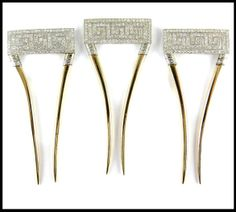 Art Deco diamond hair combs featuring a Greek key motif in single-cut diamonds and gold prongs. Circa 1910 by Black, Starr & Frost. Via Diamonds in the Library.