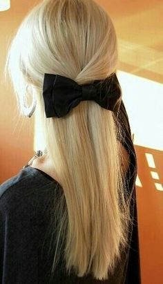 Straight hair with bow