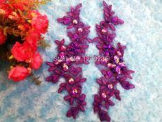 Online Shop 2015 lantejoulas novo Handmade strass patches roxo lace applique costurar em delicado bordado 23 * 10 cm para o vestido Aliexpress Mobile