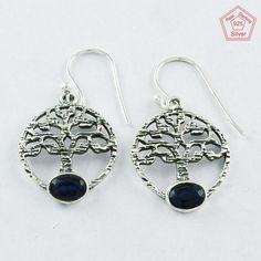 925 Sterling Silver Sapphire Agate Stone Tree Of Life Earrings E4077 #SilvexImagesIndiaPvtLtd #DropDangle