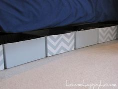 DIY Underbed storage - made with cardboard boxes! Check it out!