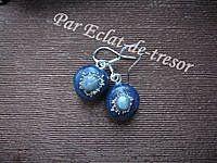 Boucles d'oreilles Argent 925 Bleu métallique