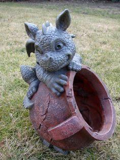 SC Leisure Gargouille de jardin Dragon Pot de fleurs avec figurine B: Amazon.fr: Jardin