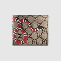 3fe94e2c708 Gucci Kingsnake print GG Supreme zip around wallet