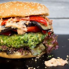 Green Monster Veggie Burger with grilled eggplant, red bell pepper, and vegan sun-dried tomato mayonnaise.