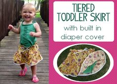 Nap Time Crafters: Tiered Toddler Skirt with Built-In Diaper Cover!