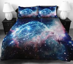 Galaxy comforters let you wrap yourself in the universe. Custom printed beddings feature 9 different designs, click here to see them all!