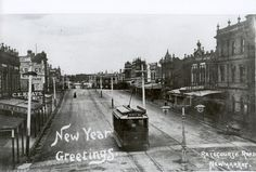 Racecourse Road, Newmarket, looking east from Newmarket Station. R is the Doutta Galla Hotel. year unknown, but Melbourne Tram, Melbourne Suburbs, Melbourne Australia, Melbourne Victoria, Victoria Australia, Ascot Vale, The 'burbs, Historical Architecture, Local History
