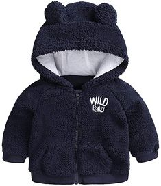 Voberry Toddler Newborn Baby Boy Girl Bear Ear Hoodie Romper Stripe Winter Fleece Warm Jumpsuit