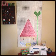 """Pegboard """"cross stitch"""". This is probably the greatest idea ever."""