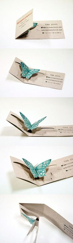 The pop-up works without any glue or tape, which makes them easier to produce and more elegant, and adds a nice little surprise to the card.