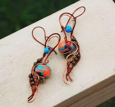 Tropical Color Bohemian Gypsy Spiral Wire Wrap Polymer Clay Artisan Earrings #Jeanninehandmade #Wrap