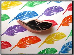 Feather Hand Carved Rubber Stamp by SweetSpotStampShop on Etsy, $3.99