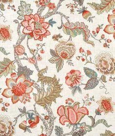 Covington Jaipur Serenity Aqua Blue Floral Damask Trellis Lattice Oriental Rug Look Linen Blend 54 Wide Shabby Home Decor Fabric 4 Yards