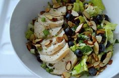 This is a light and easy to make a blueberry chicken salad, with a little crunchy twist to it that will delight your waistline. Blueberry Chicken, Toasted Almonds, Chicken Salad, Vinaigrette, Potato Salad, Zucchini, Cravings, Salads, Stuffed Peppers