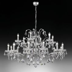 ATLGCRP17 - Crystal eighteen arm chandelier in nickel