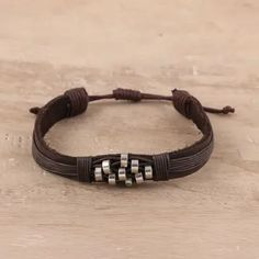 Diamond Pattern Leather Wristband Bracelet from India - Heavenly Beads | NOVICA