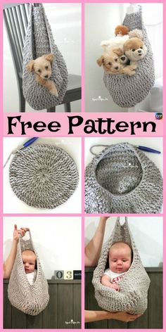 Crochet Hanging Sack Basket - Free Pattern This crochet hanging sack basket is really useful, you can use it to store all kinds of stuff, and maybe a light pet (like a cat or dog) could even sleep inCrochet Camera Purse The Best Ideas, Free Crochet P Bag Crochet, Crochet Gratis, Crochet Basket Pattern, Baby Knitting Patterns, Crochet Yarn, Free Crochet, Crochet Patterns, Crochet Ideas, Crochet Hammock
