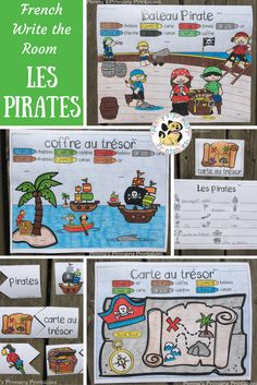 French Pirate Write the Room! Perfect for any time of the year, this set is filled with great French vocabulary activities including the write the room activity, word puzzles, colour by word pictures and more! Perfect for centres! Save money with the Writ Pirate Words, French Tenses, Bateau Pirate, French Worksheets, French Resources, Word Pictures, French Pictures, Word Puzzles, Vocabulary Activities