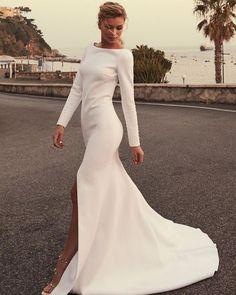 Minimalist Wedding Dresses, Black Wedding Dresses, Bridal Dresses, Elegant Wedding, Bateau Wedding Dress, Wedding Gowns, Wedding Bride, Australian Dresses, One Day Bridal