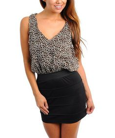 Take a look at this Black & Beige Leopard V-Neck Dress by Buy in America on #zulily today! $20 !!