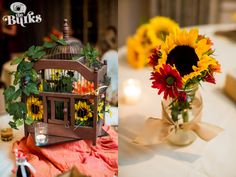Really cool centerpieces for reception! Sunflowers are awesome! #sunflower #sunflowers #flowers #centerpieces